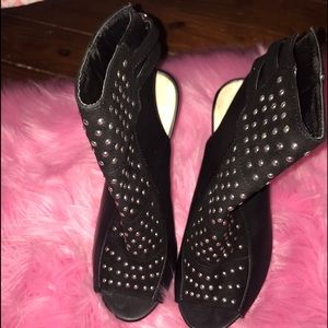 Black Silver Stud Heels two straps at the heel